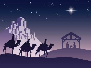 Los tres Reyes Magos camino del Portal de Belén para llevar regalos al niño Jesús