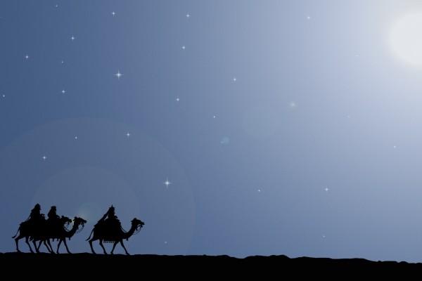 Los Reyes Magos siguiendo la Estrella de Belén