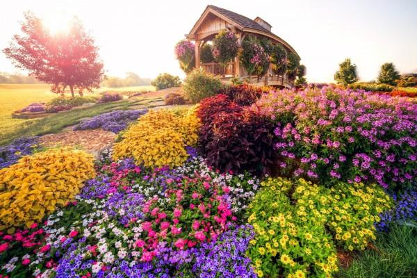 Un puente y muchas flores en Carleton (Míchigan)