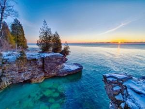 Postal: Amanecer en el Lago Míchigan