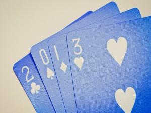 Cartas de poker azules para el 2013