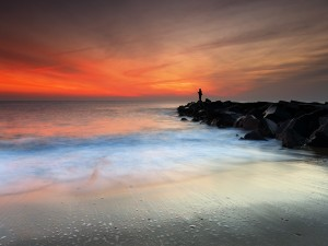 Postal: Un pescador solitario (Monmouth Beach, Nueva Jersey)