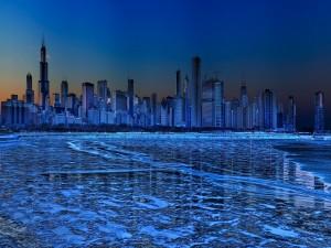 Postal: Panorámica nocturna de la ciudad de Chicago