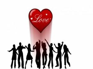 Postal: Amor entre jóvenes bailando