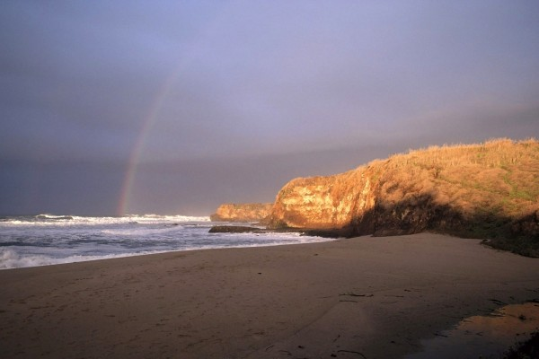 Arco iris desde la playa