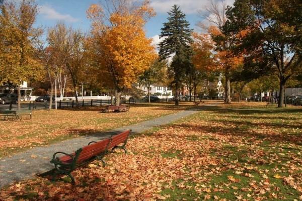 Un pequeño parque en otoño