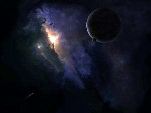 Postal: Galaxias, planetas y naves espaciales