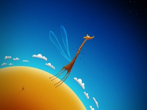 Postal: Una jirafa con alas
