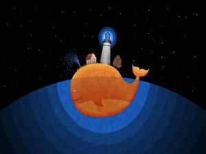 Postal: Viviendo encima de una ballena naranja