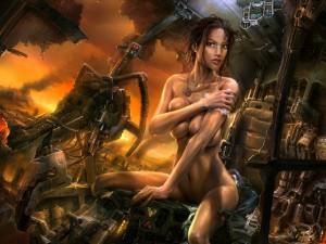 Chica desnuda en un futuro apocalíptico