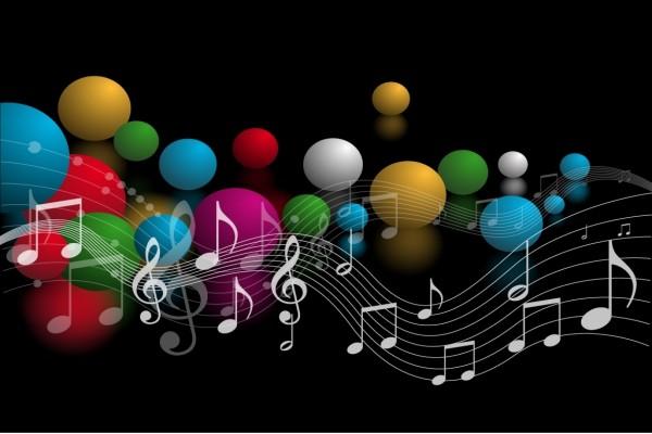 Notas musicales y bolas de colores