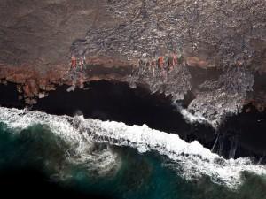 Ríos de lava vistos desde el cielo (Pahoa, Hawái)
