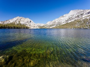 Montañas nevadas en el Lago Tenaya (California)