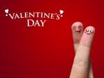 Dedos enamorados en el Día de San Valentín