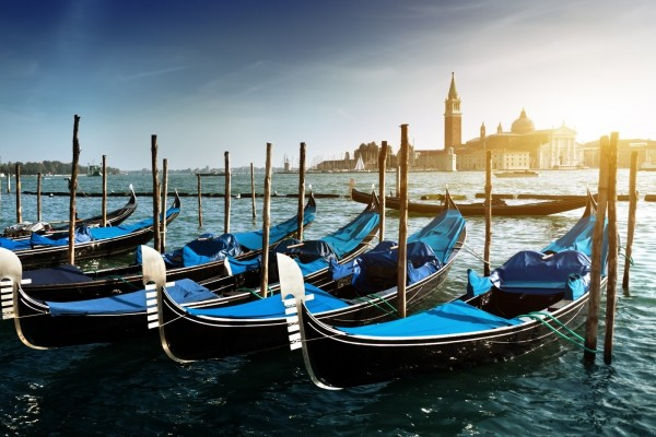 Góndolas en San Giorgio Maggiore (Venecia)