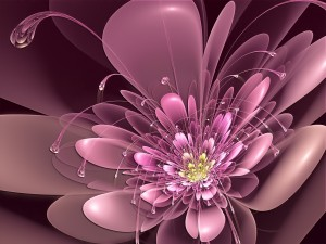 Una ciber-flor morada en 3D