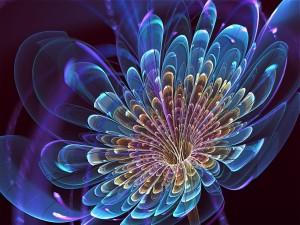 Flor azul 3D semitransparente