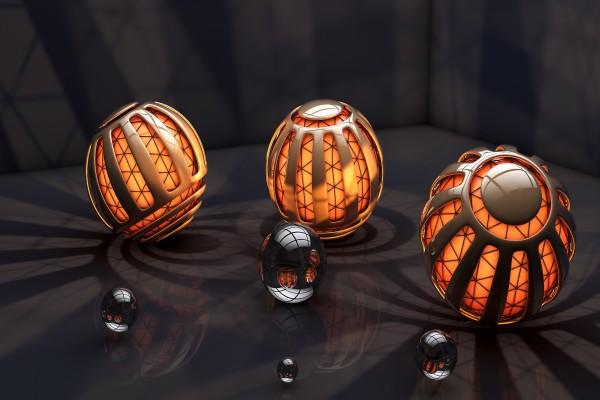 Esferas con una luz naranja interior