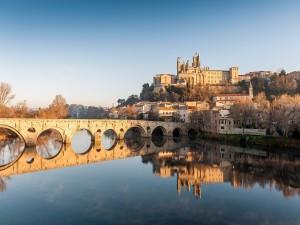 Postal: Catedral de St. Nazaire y Pont Vieux (Francia)