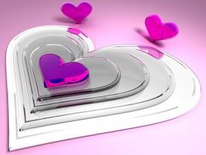 Postal: Corazones rosas transparentes