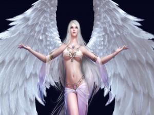 Postal: Mujer con alas blancas