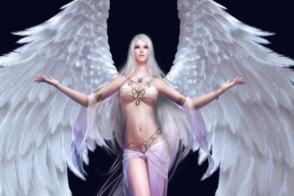 Mujer con alas blancas