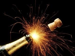 Explosión de luz al descorchar el champán