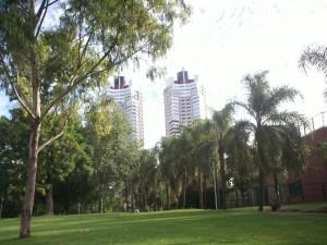 Postal: Edificios cerca de un parque en la ciudad de Buenos Aires (Argentina)