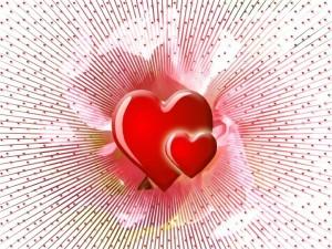 Corazones irradiando amor