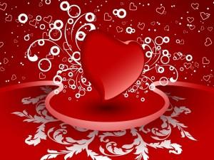 Postal: Corazón rojo desprendiendo mucho amor