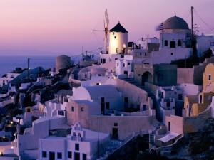 Postal: Molino de viento en Santorini (Grecia)