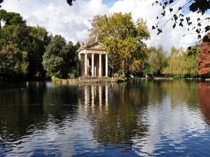 Postal: El parque Villa Borghese (Roma, Italia)