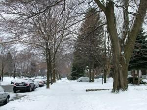 Un barrio nevado en la ciudad de Toronto, Canadá
