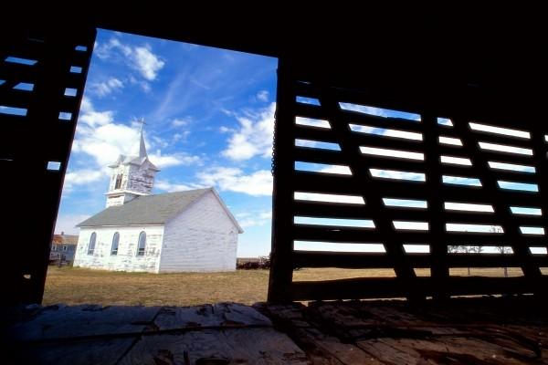 Iglesia de un pueblo de Dakota del Sur, Estados Unidos