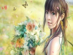 Postal: Chica en primavera