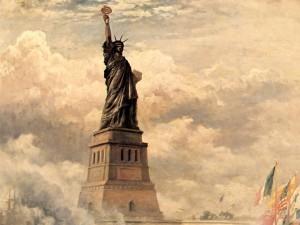 Inauguración de la Estatua de la Libertad Iluminando al Mundo (1886) de Edward Moran