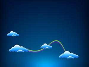 Postal: Un arco iris conectando las nubes