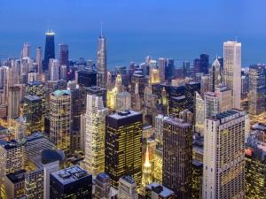 La ciudad de Chicago de noche