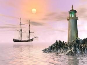 Postal: Faro guiando un barco