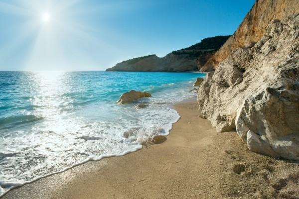 Una playa en la isla de Léucade, Grecia