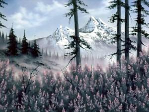 Cuadro de unas montañas nevadas del pintor Bob Ross