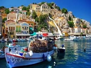 Postal: Puerto en la isla griega de Symi