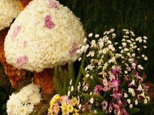 Postal: Ornamentación con flores silvestres