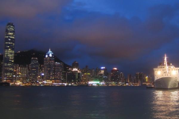Puerto de Victoria (Hong Kong) de noche