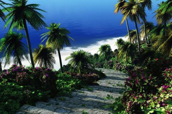 Escalones de piedra para bajar a la playa