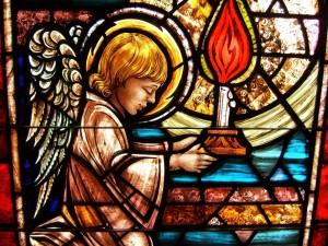Postal: Vidriera con un angelito