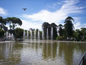 Postal: Fuente y lago del Parque Centenario de Buenos Aires (Argentina)