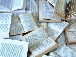 Postal: Muchos libros abiertos