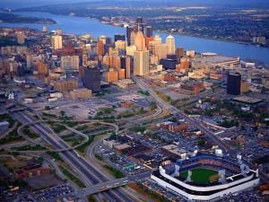 Postal: Vista aérea de Detroit, Michigan, Estados Unidos