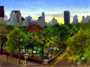 """Central park twlight"" pintado por James Childs"